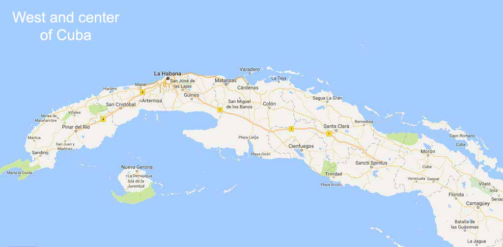 West and center of Cuba